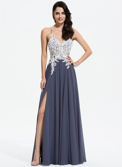 A-Line V-neck Floor-Length Chiffon Prom Dresses With Lace Beading Sequins eedae235becb