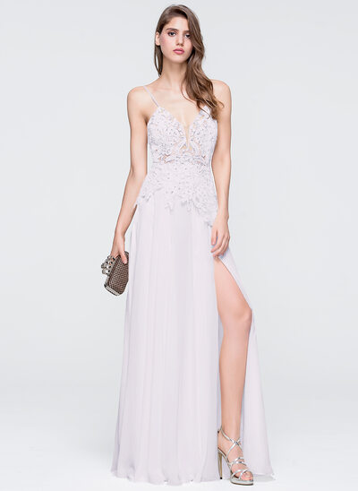 A-Line/Princess V-neck Floor-Length Chiffon Prom Dresses With Beading Sequins Split Front