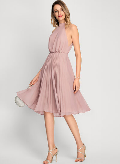 A-Line High Neck Knee-Length Chiffon Bridesmaid Dress With Pleated