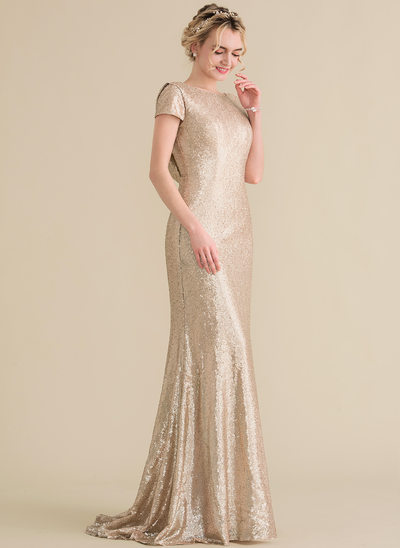 Trumpet/Mermaid Scoop Neck Sweep Train Sequined Evening Dress With Cascading Ruffles