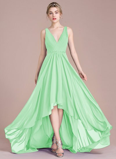 A-Line/Princess V-neck Asymmetrical Chiffon Prom Dresses With Ruffle Beading Sequins