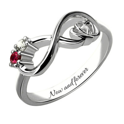 Personalized Ladies' Chic With Round Cubic Zirconia Name Rings Rings For Bride/For Couple
