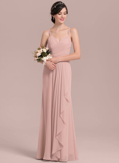 A-Line/Princess Sweetheart Floor-Length Chiffon Prom Dresses With Cascading Ruffles
