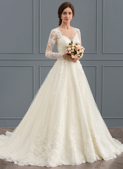 Wedding dresses affordable under 100 jjshouse ball gown scoop neck court train tulle lace wedding dress junglespirit Images