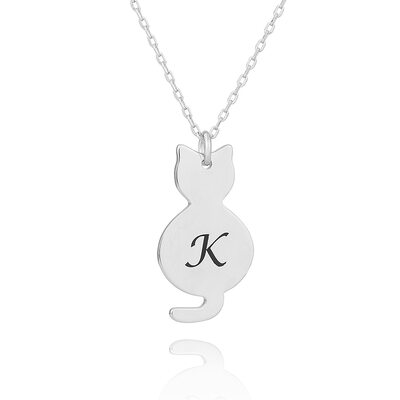 Custom Silver Cat Engraved Necklace - Christmas Gifts