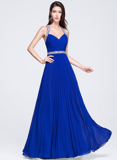A-Line/Princess Sweetheart Floor-Length Chiffon Prom Dresses With Ruffle Beading Sequins Pleated