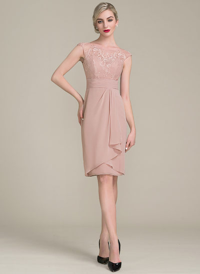 Sheath/Column Scoop Neck Knee-Length Tea-Length Chiffon Lace Cocktail Dress With Cascading Ruffles