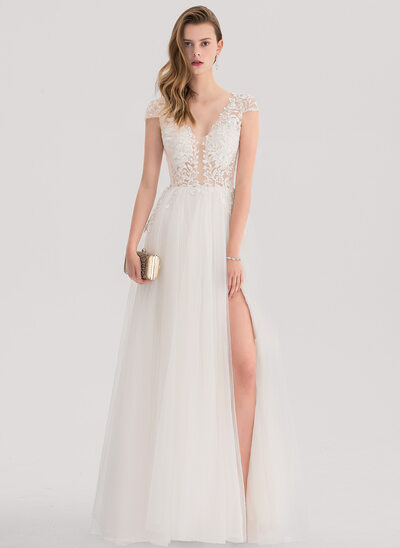 A-Line/Princess V-neck Floor-Length Tulle Evening Dress With Split Front