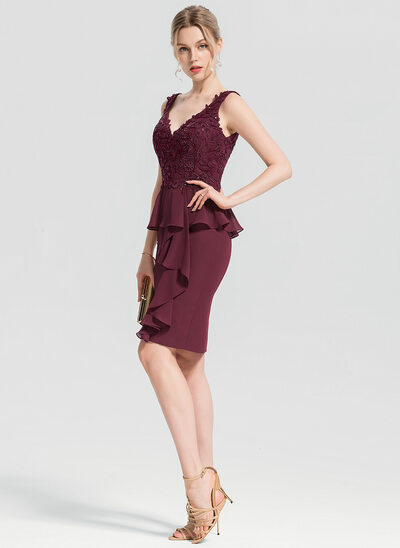 Sheath/Column V-neck Knee-Length Chiffon Cocktail Dress With Appliques Lace Sequins Cascading Ruffles