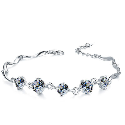 Ladies' Nice 925 Sterling Silver With Diamond Cubic Zirconia Bracelets For Bride/For Bridesmaid