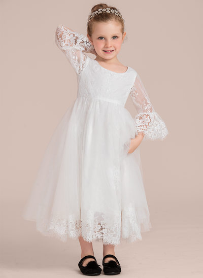 A-Line/Princess Ankle-length Flower Girl Dress - Lace 1/2 Sleeves Scoop Neck