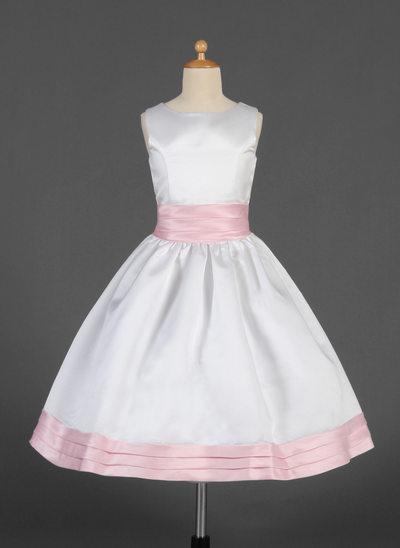 A-Line/Princess Tea-length Flower Girl Dress - Satin Sleeveless Scoop Neck With Sash