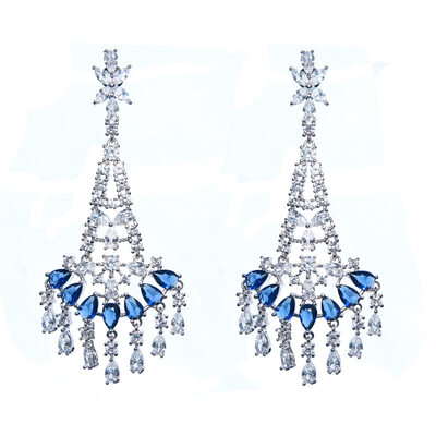 Ladies' Vintage Copper/Platinum Plated With Pear Cubic Zirconia Earrings For Bridesmaid/For Friends
