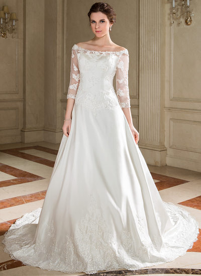 A-Line/Princess Off-the-Shoulder Chapel Train Satin Wedding Dress With Lace Beading Sequins