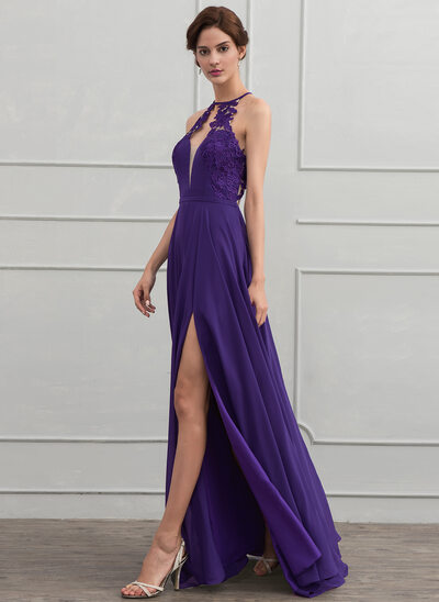 A-Line/Princess Scoop Neck Floor-Length Chiffon Prom Dresses With Lace Split Front