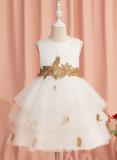 Ball-Gown/Princess Knee-length Flower Girl Dress - Tulle Sleeveless Scoop Neck With Lace/Beading