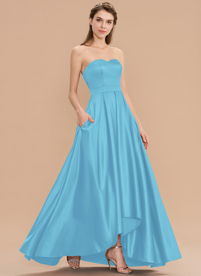 A-Line Sweetheart Asymmetrical Satin Bridesmaid Dress With Pockets