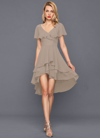 Forme Princesse Col V Asymétrique Mousseline Robe de cocktail avec Robe à volants