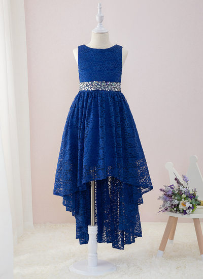 A-Line Asymmetrical Flower Girl Dress - Lace Sleeveless Scoop Neck With Beading