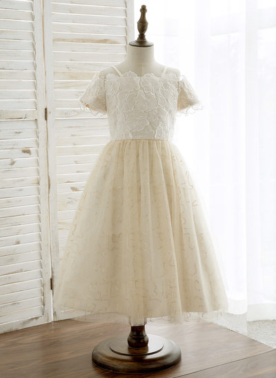 A-Line/Princess Tea-length Flower Girl Dress - Tulle/Lace Short Sleeves Off-the-Shoulder