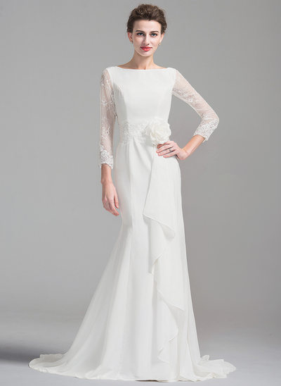 Trumpet/Mermaid Scoop Neck Court Train Chiffon Wedding Dress With Beading Flower(s) Cascading Ruffles