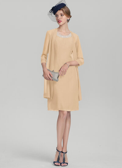A-Line/Princess Scoop Neck Knee-Length Chiffon Mother of the Bride Dress With Beading