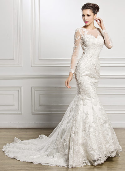 Trumpet/Mermaid Scoop Neck Chapel Train Lace Wedding Dress With Beading Sequins