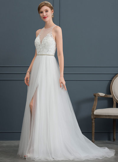 A-Line/Princess Scoop Neck Sweep Train Tulle Wedding Dress With Beading Split Front