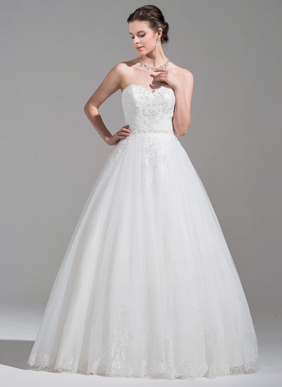 Ball-Gown Sweetheart Floor-Length Tulle Wedding Dress With Ruffle Beading Appliques Lace Sequins
