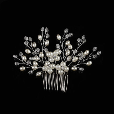 Rhinestone/Alloy/Imitation Pearls Combs & Barrettes With Rhinestone/Pearl (Sold in single piece)