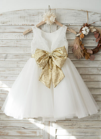 Princesový Po kolena Flower Girl Dress - Tyl/Krajka/Sequined Bez rukávů Scoop Neck S Luk/V Back