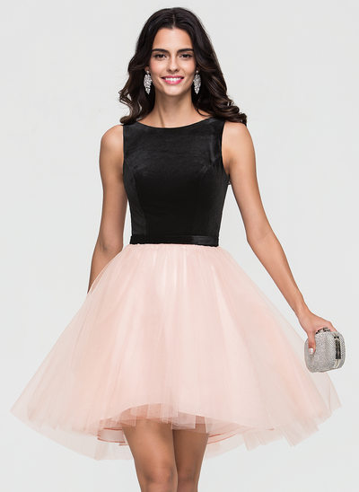 A-Line Scoop Neck Asymmetrical Tulle Homecoming Dress