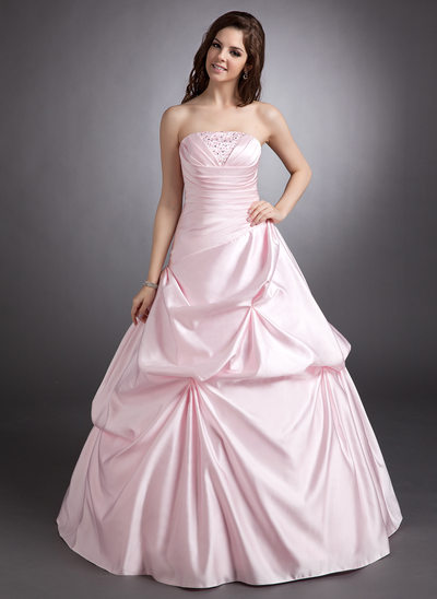 Ball-Gown Strapless Floor-Length Satin Quinceanera Dress With Ruffle Beading