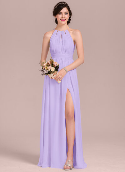 A-Line/Princess Scoop Neck Floor-Length Chiffon Bridesmaid Dress With Ruffle Bow(s) Split Front