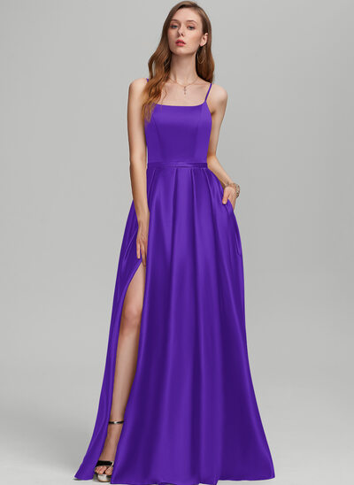 A-Line Square Neckline Floor-Length Satin Prom Dresses With Split Front Pockets