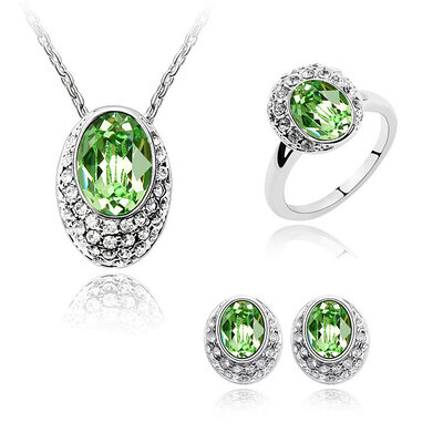 Ladies' Elegant Alloy/Platinum Plated With Oval Austrian Crystal Jewelry Sets For Mother/For Friends