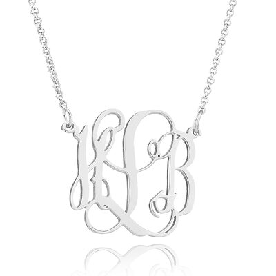 Custom Sterling Silver Monogram Necklace - Valentines Gifts