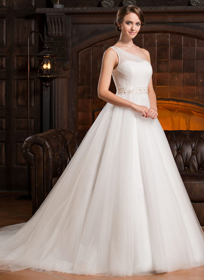 One shoulder wedding dresses affordable under 100 jjshouse ball gown one shoulder chapel train tulle wedding dress with ruffle beading junglespirit Gallery