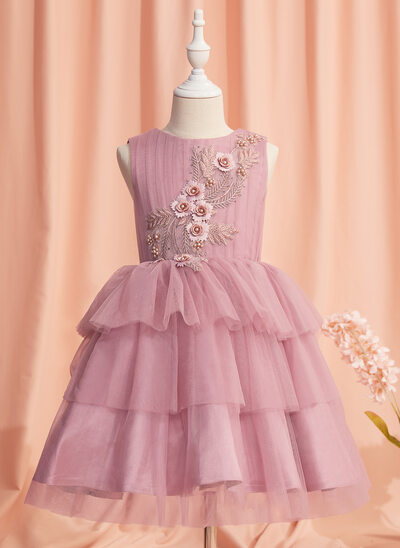 Ball-Gown/Princess Knee-length Flower Girl Dress - Tulle Sleeveless Scoop Neck With Lace/Beading/Bow(s)