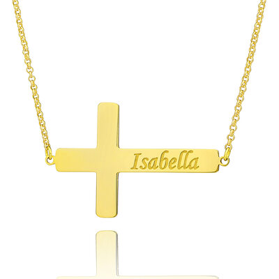 Christmas Gifts For Her - Custom 18k Gold Plated Silver Religious Cross Meaning Engraved Necklace
