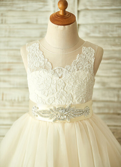 A-Line/Princess Knee-length Flower Girl Dress - Tulle/Lace Sleeveless With Appliques/Bow(s)/Rhinestone