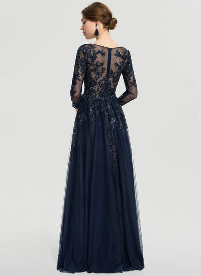 A-Line V-neck Floor-Length Tulle Evening Dress With Sequins