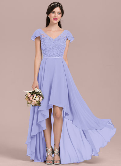 A-Line V-neck Asymmetrical Chiffon Lace Bridesmaid Dress With Beading Sequins