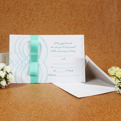 Vintage Style Flat Card Invitation Cards With Bows/Ribbons (Set of 50)