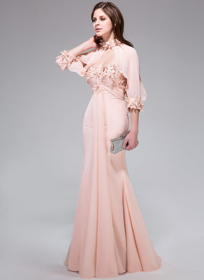 Trumpet/Mermaid Sweetheart Floor-Length Chiffon Prom Dresses With Ruffle Lace Flower(s)