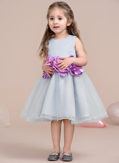 A-Line/Princess Knee-length Flower Girl Dress - Tulle Scoop Neck With Flower(s)