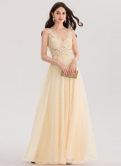 A-Line/Princess V-neck Floor-Length Tulle Prom Dress