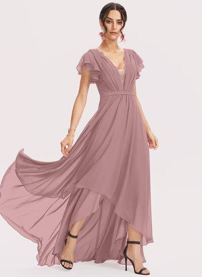A-Line V-neck Asymmetrical Cocktail Dress With Lace Cascading Ruffles