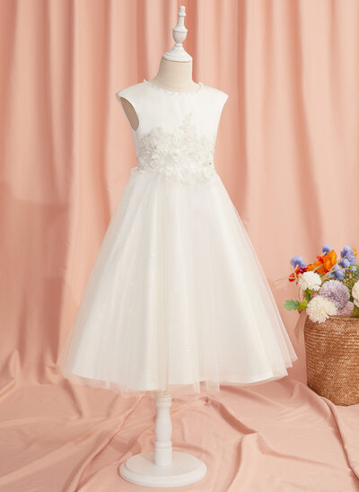 Ball-Gown/Princess Tea-length Flower Girl Dress - Tulle Sleeveless Scoop Neck With Lace/Beading/Flower(s)
