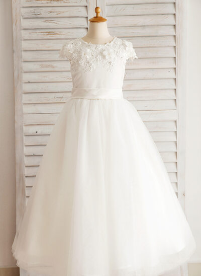 Ball Gown Floor-length Flower Girl Dress - Satin/Tulle Sleeveless Scoop Neck With Beading/Appliques